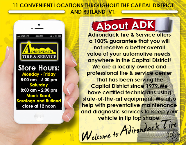 Adirondack Tire  & Service is your local Capitol District auto repair and tire dealer.